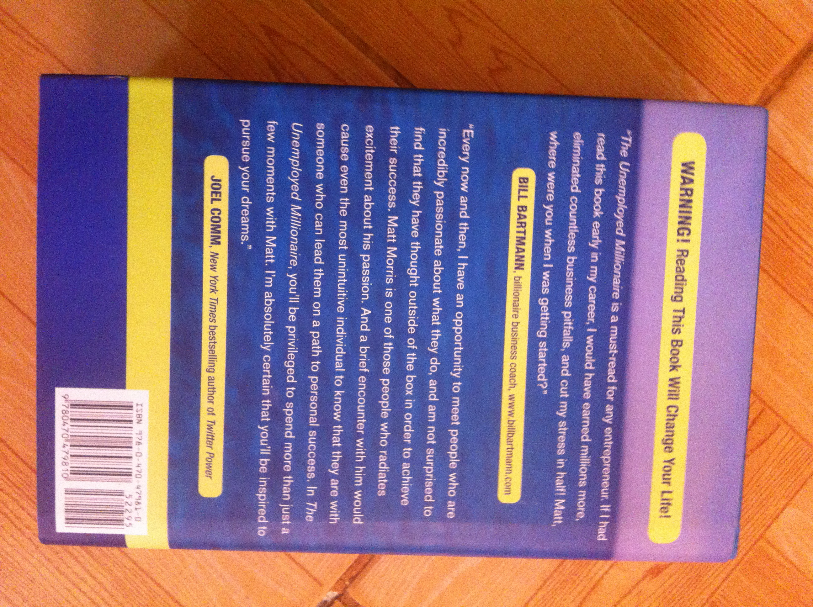 The Unemployed Millionaire by Matt Morris- back cover