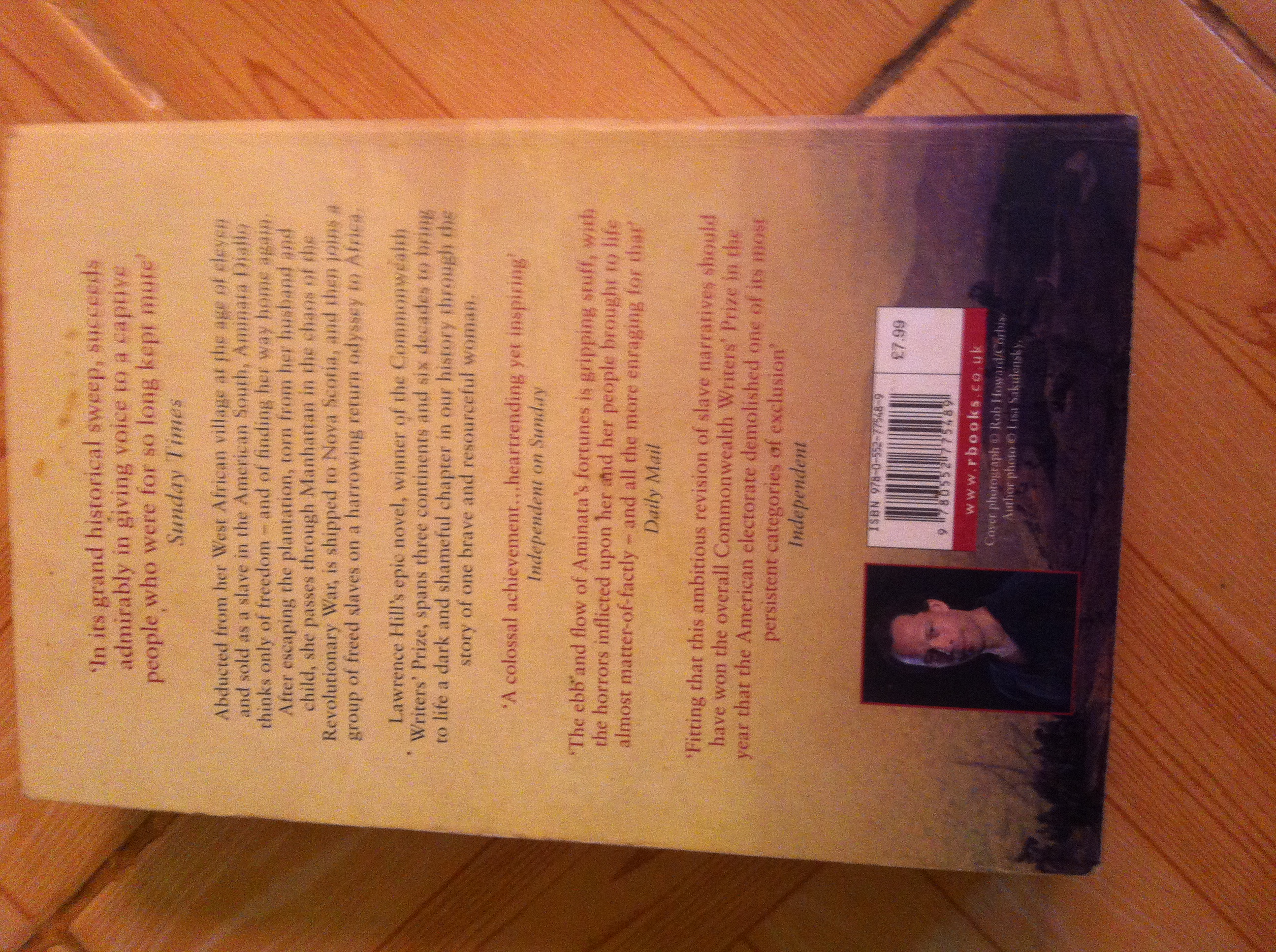 The Book of Negroes by Lawrence Hills - Back cover