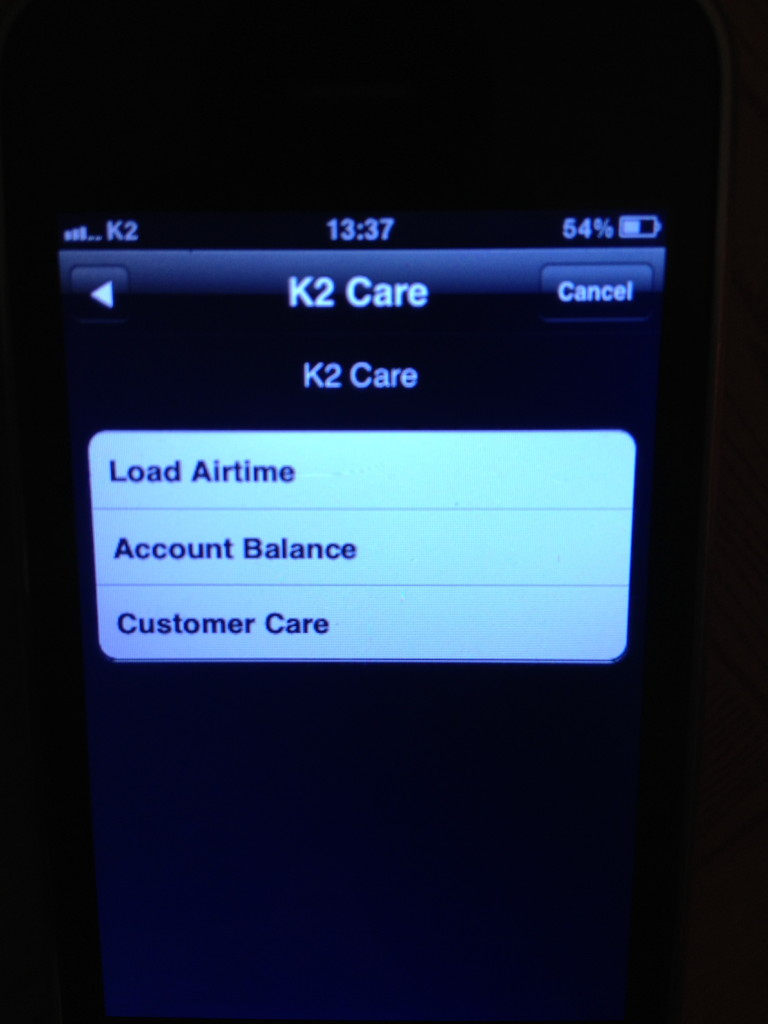 K2 Telecom English main menu