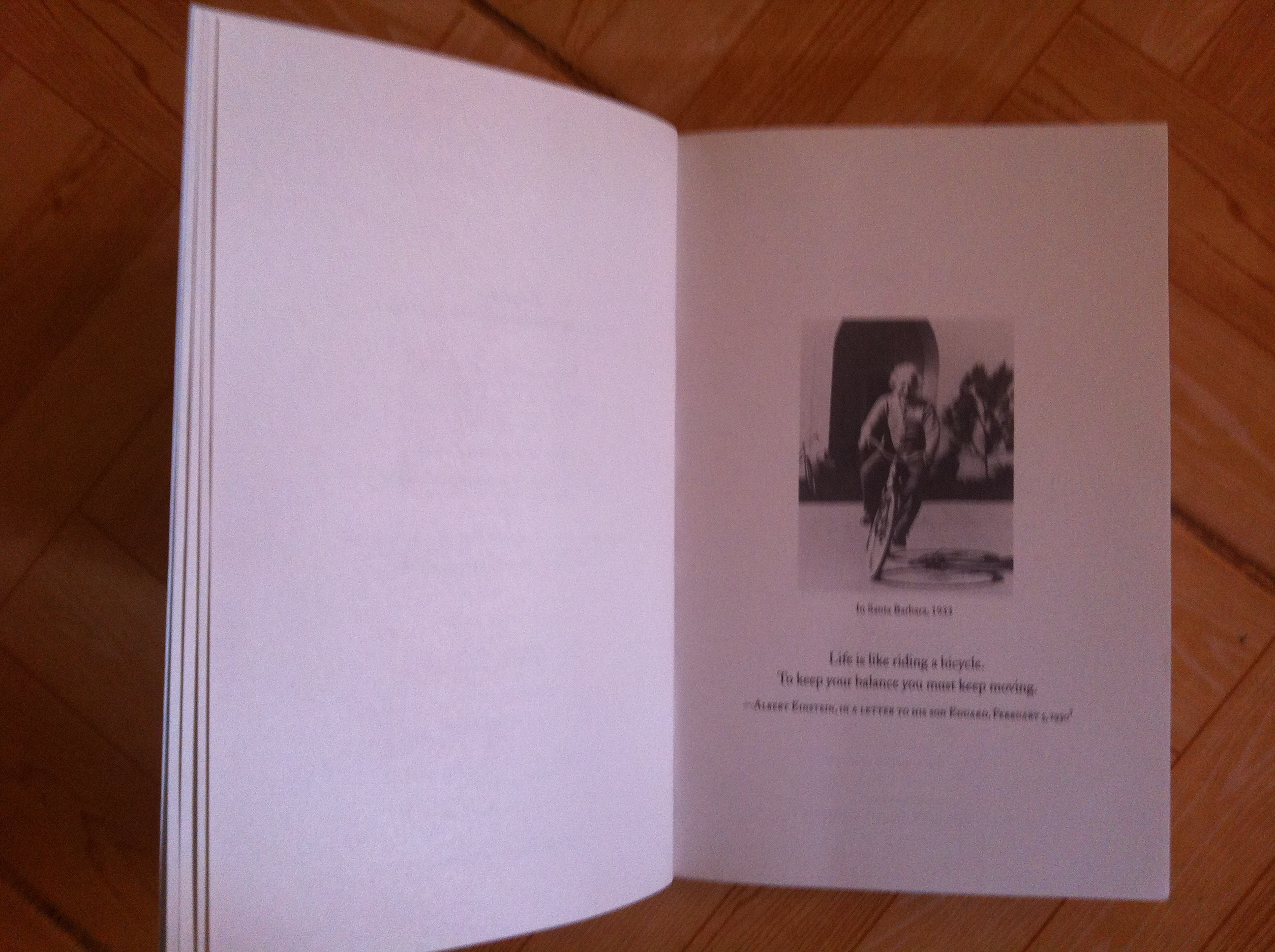 Einstein as a cyclist is one of the iconic images in the book: His Life and Universe by Isaacson Walter