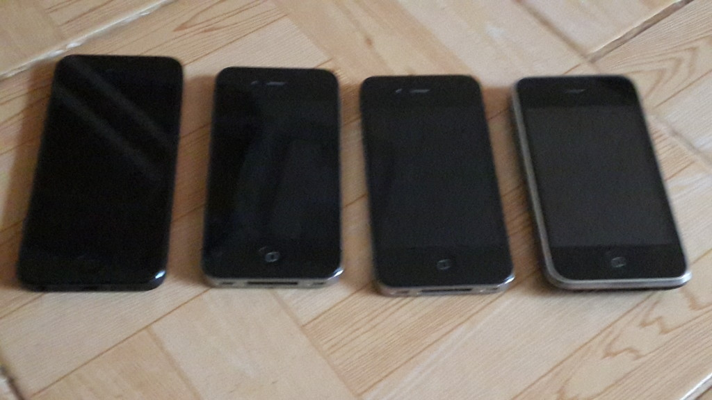 My iPhone family from the left iPhone 5, iPhone 4S, iPhone 4 and evergreen iPhone 3GS