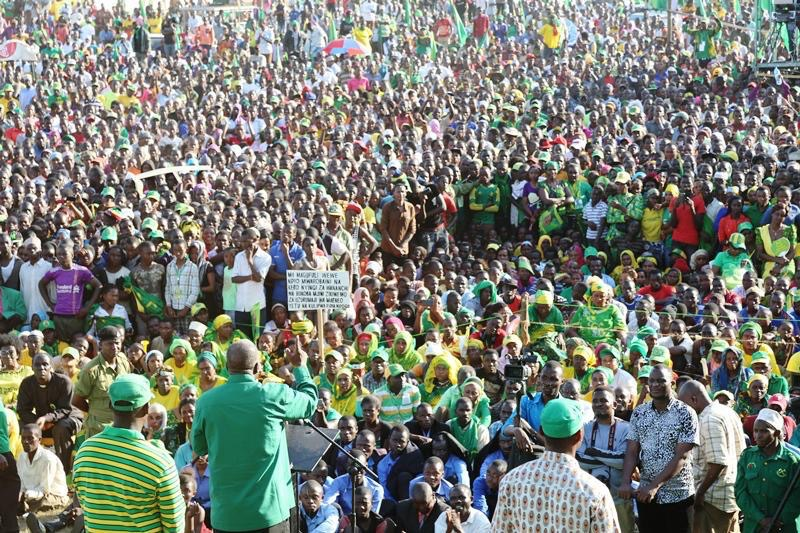 John Magufuli addressing his supporters in Bukoba area recently