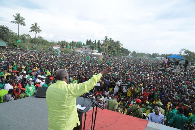 John Magufuli addressing during his vote hunting campaign in Mwanza