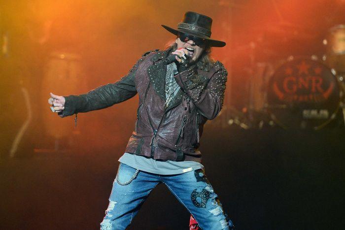 Axl Rose of Guns N Roses performing at Coachella festival