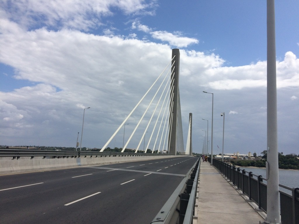 The newly built Kigamboni bridge which connects the island with Dar Es Salaam Central Business District